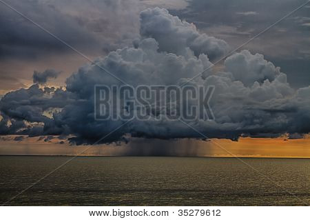 Thunder storm cloud over the Gulf of Mexico. Clearwater, Florida. poster