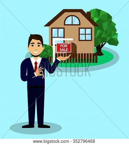 Selling A House, Realtor Sells Home, The Keys To The House In The Hands Of A Realtor.