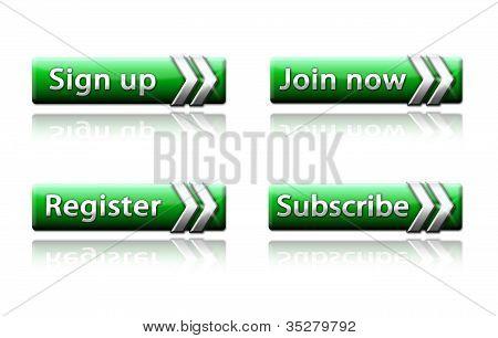Web buttons - green