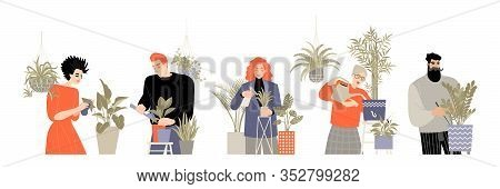 Set Of Images Of People Caring For Home Plants. Men And Women Watering, Transplanting Flowers, Spray