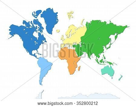 World Map With Antarctica. Seven Continents. Each Continent In Different Color. Flat Design. Atlas.