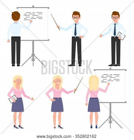 Funny Office Worker Guy And Lady Vector Illustration. Holding Wooden Wand, Showing, Standing With No