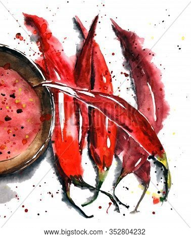 Watercolor Chili Peper Set On White With A Plate