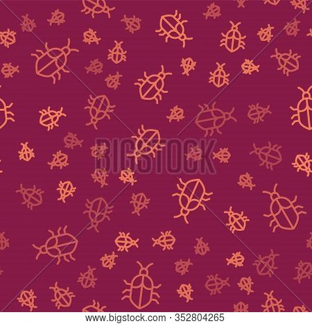 Brown Line System Bug Concept Icon Isolated Seamless Pattern On Red Background. Code Bug Concept. Bu
