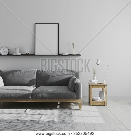 Blank Poster Frame Mock Up On Shelf In Gray Living Room Interior Background, Scandinavian Style Livi