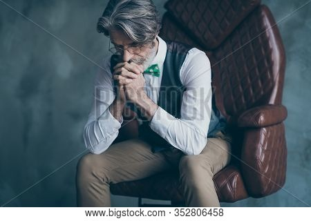 Please Give Me Success. Frustrated Old Rich Wealthy Man Sit Armchair Have Crisis Ask Luck Pray Wear