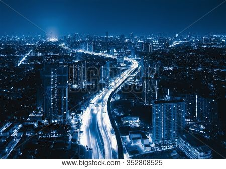 Aerial View Of Sathorn Road, Bangkok Downtown, Thailand. Financial District And Business Centers In
