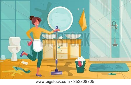 Yound Woman Cleaning Dirty Bathroom. Housewife Mopping Floor Or Washing With Detergent In Bucket. Ca