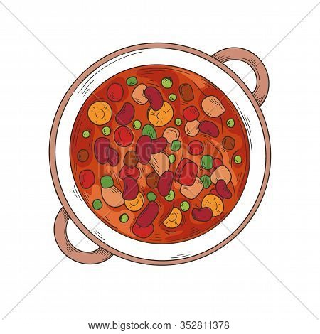 Italian Cuisine Soup. Minestrone. Plate With Soup Isolated On A White Background. Vector Illustratio