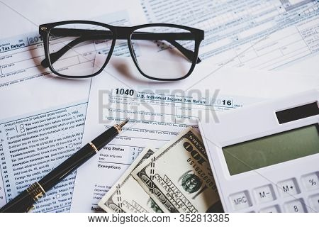 Calculating Tax Refund Or Income Tax Return For Saving Tax, Target And Success For Save Money. Tax A