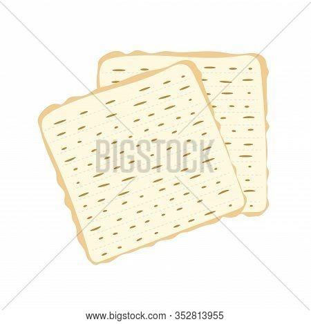 Jewish Matzah Bread Vector Illustration. Traditional Matzoh Pesach Food.