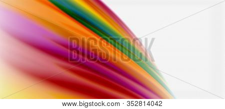 Wave lines abstract background, smooth silk design with rainbow style colors. Liquid fluid color waves. Illustration For Wallpaper, Banner, Background, Card, Book, Illustration, landing page, cover