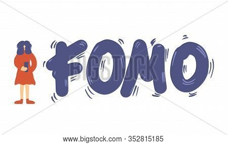 Fomo Abbreviation Emblem Isolated On White Background. Young Female Person Feeling Social Anxiety An