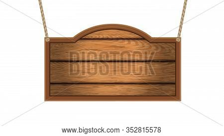 Vintage Western Saloon Advertise Nameplate Vector. Hanging On Ropes Saloon Or Rancho Name Wooden Pla