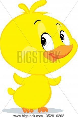 Cute  Easter Chicken Character Fflat Design Vector Illustration Cartoon