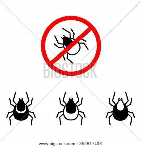 Mite Insect Icons Set. Simple Set Of Mite Insect Vector Icons For Web Design On White Background. In