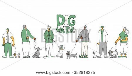 Dog Walkers. People Walking With Pets Collection. Owners Keeps The Dogs On The Leash. Vector Illustr