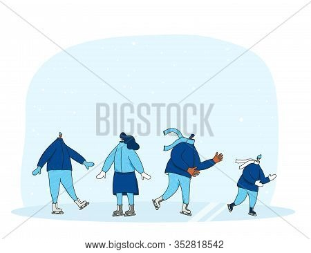 Ice Skaters Collection. Group Of Persons Dressed In Warm Winter Clothes Skating On The Rink. Friends