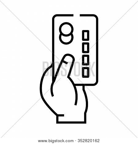 Credit Card Paying Line Icon, Concept Sign, Outline Vector Illustration, Linear Symbol.