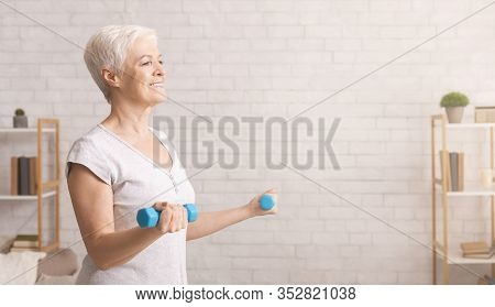 Activity In Old Age. Sporty Senior Woman Exercising With Dumbbells At Home, Panorama, Empty Space