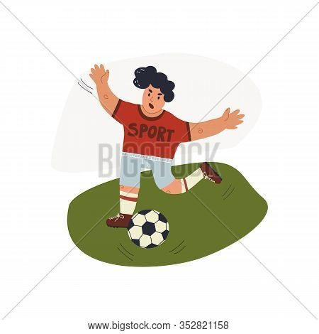 Forward Football Player Runs On The Pitch To The Ball. Fun Hand Drawn Card And Banner Sportive Desig