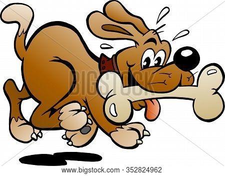Vector Cartoon Illustration Of A Happy Dog With A Big Bone