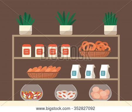Showcase With Confectionery Inside. Biscuits, Cookies And Candies On Rack In Market Or Bakery. Delic