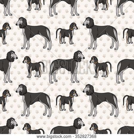Hand Drawn Cute Puppy And Saluki Breed Dog Seamless Vector Pattern. Purebred Pedigree Domestic Dog O