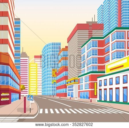 Empty Street Vector, Corner View On Cityscape. Metropolitan Wide Roads With Signs And Pedestrian Cro