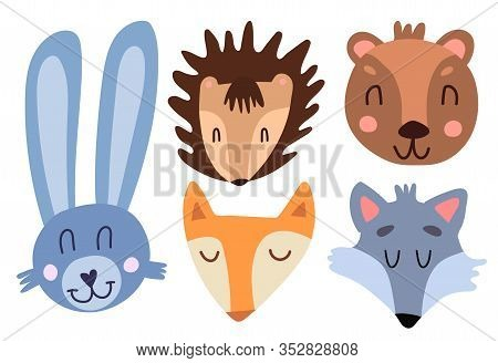 Cute Baby Faces Of A Hare, Hedgehog, Fox, Wolf And Bear. Funny Cartoon Style Cute Forest Animals. Wi