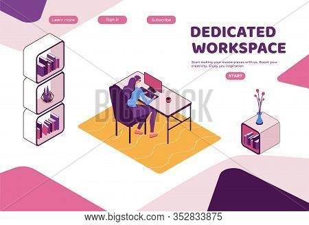 Dedicated Workplace Landing Page Template, Freelancer Working In Office, People With Laptop In Cowor