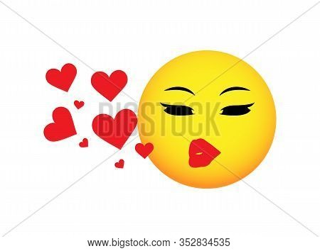 Love Smiley. Emoji. Smiley With A Kiss. Vector