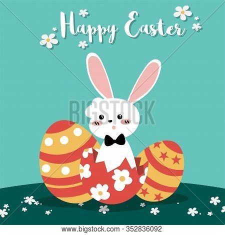 Cute Easter Greeting Banner Of White Rabbit With Easter Eggs On Field With Tiny Flowers And Happy Ea