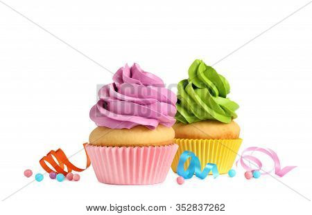Delicious Birthday Cupcakes With Buttercream On White Background