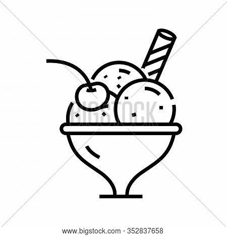 Dessert Icecream Line Icon, Concept Sign, Outline Vector Illustration, Linear Symbol.