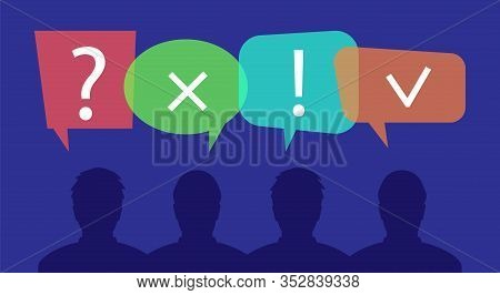 Concept Of People Silhouettes And Questions. Questions And Answers. Correct And Incorrect Answers.