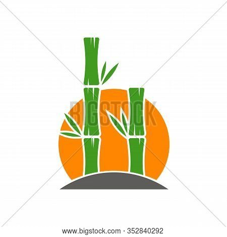 Bamboo Logo Template. Green Bamboo Trees Vector Design. Bamboo Stem Logotype