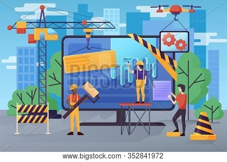 Under Construction Website Banner Vector Illustration. Maintenance Page Or 404 Error Woth Monitor Sc