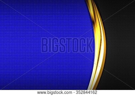 Blue And Black Carbon Fiber And Gold Curve Chromium Frame. Metal Background And Texture. Material De