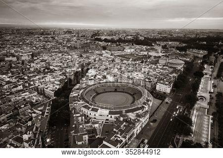 The Plaza de toros de la Real Maestranza de Caballería de Sevilla aerial view in Spain.