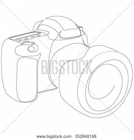 Dslr Camera Digital Vector With One Continuous Single Line Drawing. Minimal Art Style. Photography E