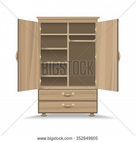 Wooden Opened Wardrobe. Empty Natural Wood Retro Closet For Interior, Dress Storage Cabinet Cartoon