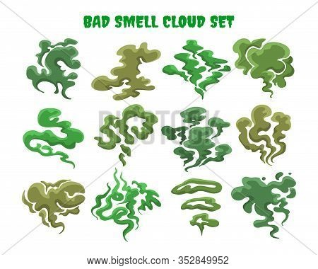 Green Fumes. Bad Smell Clouds, Expired Aroma Vector Isolated Illustrations, Bad Food Cooking Stench