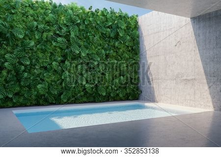Backyard swimming pool with vertical garden, 3D illustration, rendering.