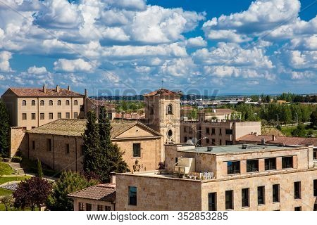 View Of The Beautiful Salamanca Old City And The Church Of Carmen De Abajo Built On The 15th Century