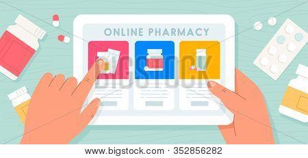 Online Pharmacy. Pills Buy Online Via Internet Application. The Concept Of Online Pharmacy. Vector I