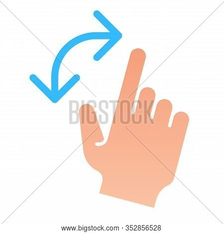 Turning Gesture Flat Icon. Turn From Left To Right Vector Illustration Isolated On White. Swipe Grad