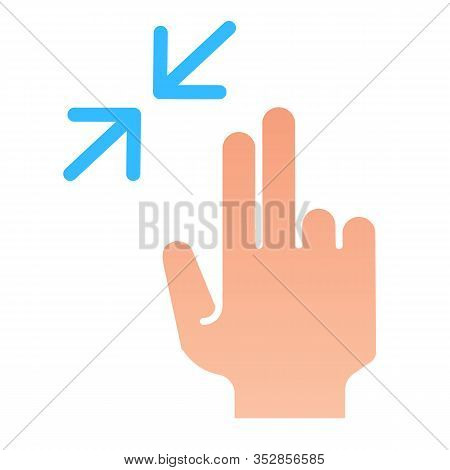 Two Finger Zoom Out Flat Icon. Swipe Resize Vector Illustration Isolated On White. Hand Click Gradie