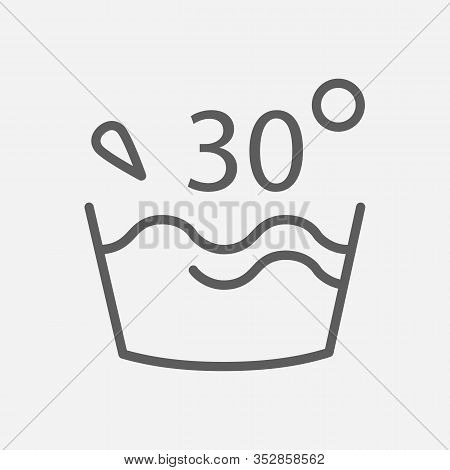 Water Temperature 30 Deg Icon Line Symbol. Isolated Illustration Of Icon Sign Concept For Your Web S