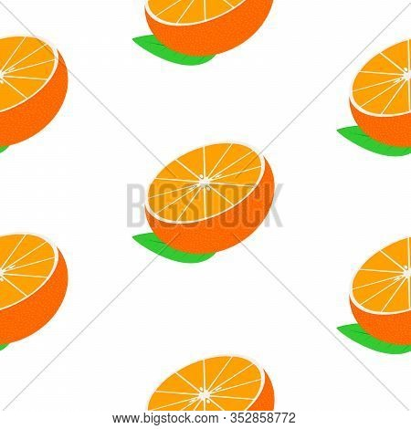 Seamless White Background With Halves Mandarins With Leaves. Vector Fruit Design For Pattern Or Temp